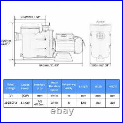 1.5HP Swimming Pool Water Pump Above Ground Motor Strainer Efficient 3450RPM UL
