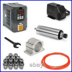 2.2KW ER20 Water-cooled Spindle Motor+2.2KW Huanyang VFD+Water Pump+Pipe+Clamp