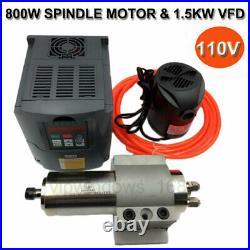 800W CNC Spindle Motor 110V Water-Cooled ER11 +1.5KW VFD Inverter+Bracket&Pump