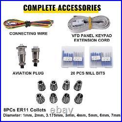 VEVOR 1.5KW ER11 CNC Water Cooled Spindle Motor+ VFD Clamp Pump Pipe Collet 110V